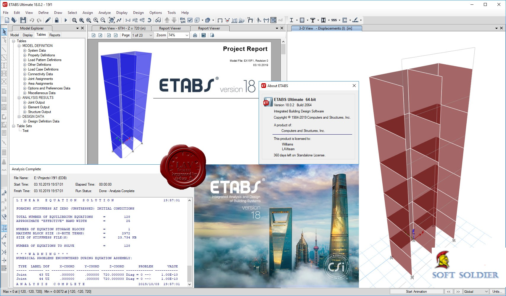 CSI ETABS Ultimate 18.0